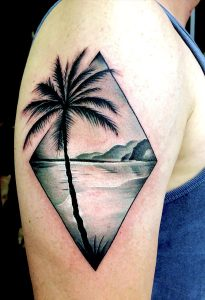 roel bij de vaate black and grey palmtree landscape