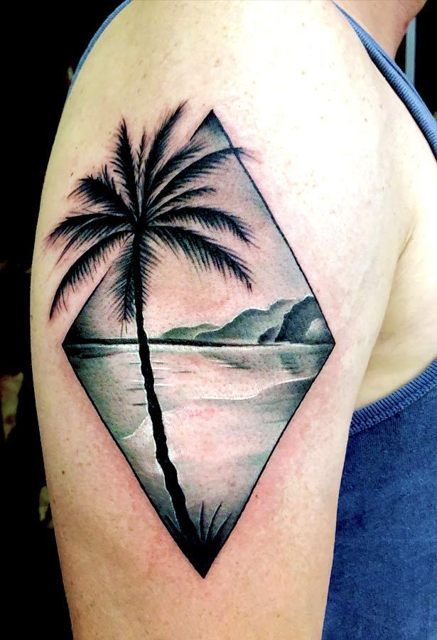 roel bij de vaate black and grey palmtree landscape