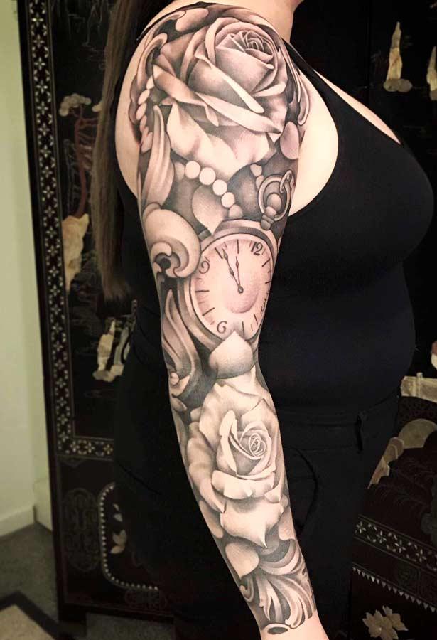 Roel bij de Vaate flowers clock onderarm